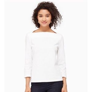 ♠️ KATE SPADE SATURDAY WHITE WHITE BOAT NECK TOP•